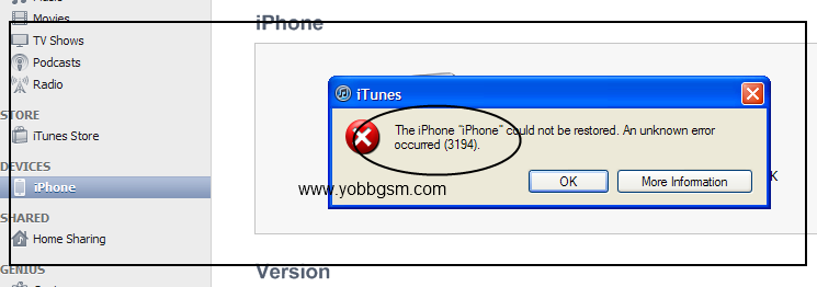 fix itunes error 3194