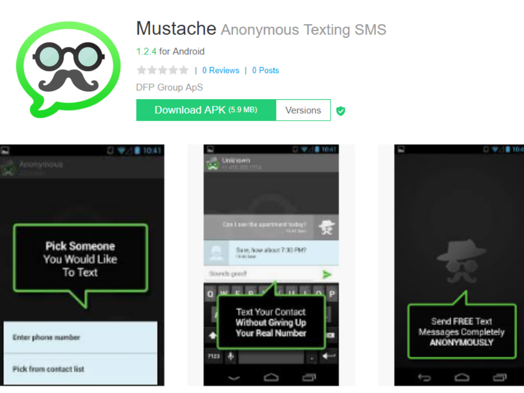 Mustache Anonymous Texting App