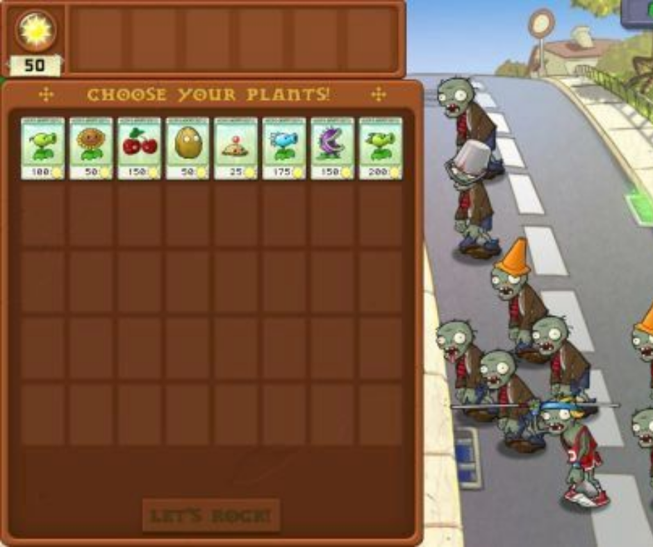 Select the plants according to the type of zombies approaching