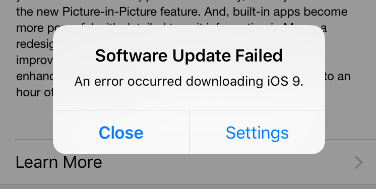 iphone jammed problem when update ios 9